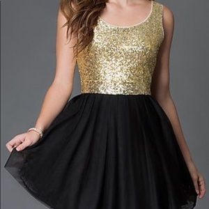 B Darlin Gold Sequin with Black Tulle Skirt Dress
